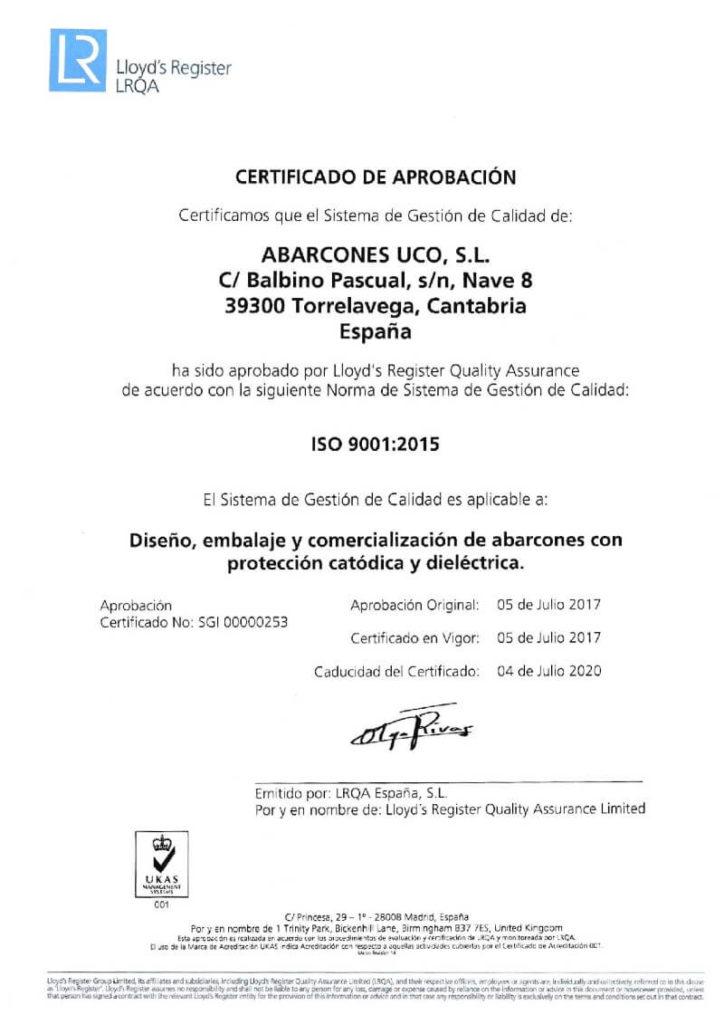 Certificado ISO 9001-001
